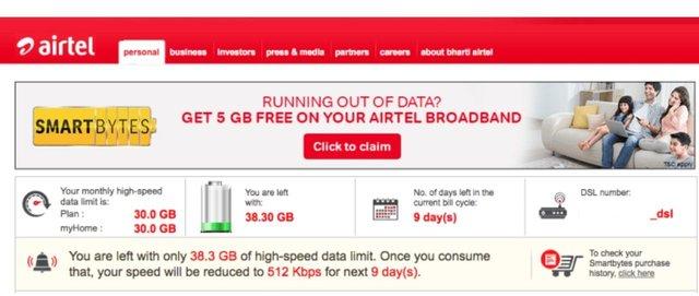 How to Check Airtel Broadband Internet Data Usage