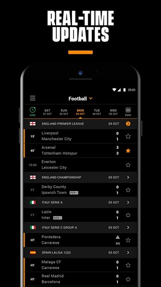 LiveScore is widely used both on iOS devices and Android platforms because it offers direct access to so many amazing games such as tennis, ice hockey, cricket, basketball and even more/ Ph: apkpure.com